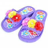 """Сланцы подростковые для девочки """"Три цветка"""" (purple)"""