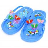 """Сланцы детские для девочки """"Бабочки"""" с резинкой (blue)"""