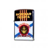 """Зажигалка бензиновая, хром """"Морская пехота: Где мы там - Победа"""" -2"""