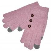 """Перчатки женские, шерстяные """"Пуговки"""" -сенсор (pink)"""