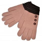 """Перчатки женские, шерстяные """"Пуговки"""" (pink)"""