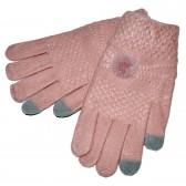 """Перчатки женсские, шерстяные """"Пумпошка"""" -сенсор (pink)"""