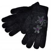 """Перчатки женские, шерстяные """"Цветы из страз"""" (black"""