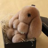 """Меховой брелок """"Зайчик"""" (кролик) 18 см на сумку -01"""