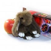 """Меховой брелок """"Зайчик"""" (кролик) 13 см на сумку -05"""