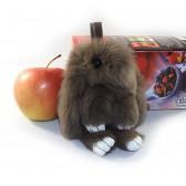 """Меховой брелок """"Зайчик"""" (кролик) 13 см на сумку -08"""