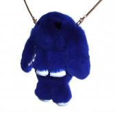 """Меховая сумка рюкзак """"Кролик"""" (синий)"""