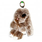 """Меховой брелок """"Зайчик"""" (кролик) с ресничками 18 см на сумку -01"""