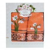 """Набор полотенец подарочный """"Цветы"""" (orange)"""