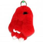 """Меховой брелок """"Зайчик"""" (кролик) с ресничками 18 см на сумку -16"""