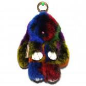 """Меховой брелок """"Зайчик"""" (кролик) 18 см на сумку радужный"""