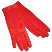Перчатки женские, красные, комбинированные