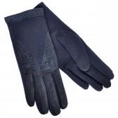 Перчатки женские, синие, комбинированные