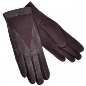 Перчатки женские, коричневые, комбинированные