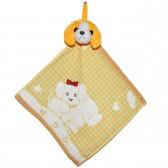 """Полотенце с головой собаки, кухонное, махровое """"Два щенка"""", цвет желтый"""