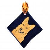 """Полотенце с головой собаки, кухонное, махровое """"Овчарка"""", цвет синий"""
