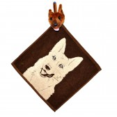 """Полотенце с головой собаки, кухонное, махровое """"Овчарка"""", цвет коричневый"""