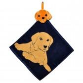 """Полотенце с головой собаки, кухонное, махровое """"Хочу играть"""", цвет синий"""