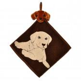 """Полотенце с головой собаки, кухонное, махровое """"Хочу играть"""", цвет коричневый"""
