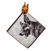 """Полотенце с головой собаки, кухонное, махровое """"Взглад овчарки"""", цвет серый"""