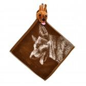 """Полотенце с головой собаки, кухонное, махровое """"Взглад овчарки"""", цвет коричневый"""