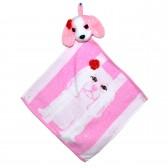 """Полотенце с головой собаки, кухонное, махровое """"Собачка с розочкой"""", цвет розовый"""