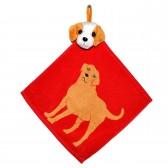 """Полотенце с головой собаки, кухонное, махровое """"Верный товарищ"""", цвет красный"""
