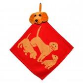 """Полотенце с головой собаки, кухонное, махровое """"Три друга"""", цвет красный"""