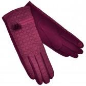 Перчатки женские для сенсорных экранов, комбинированные (red)