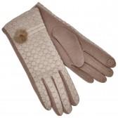 Перчатки женские для сенсорных экранов, комбинированные (beige)