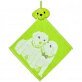 """Полотенце с головой собаки, кухонное, махровое """"Щенки"""", цвет зеленый"""