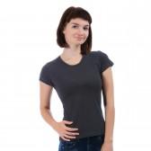 Женская однотонная футболка из хлопка, темно-серая (эконом)