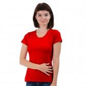 Женская однотонная футболка из хлопка, красная (эконом)