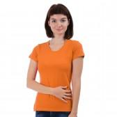 Женская однотонная футболка из хлопка, оранжевая (эконом)