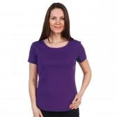 Женская однотонная футболка из хлопка, фиолетовая (эконом)