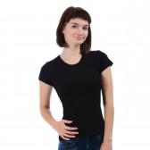 Женская однотонная футболка из хлопка, черная (эконом)