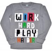 "Толстовка детская ""Work hard play"" (gray)"