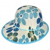 "Шляпа женская, плетеная ""Цветы"" -02"