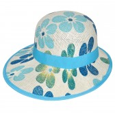 "Шляпа женская, плетеная ""Цветы"" -08"
