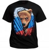 "Футболка ""Медведь с российским флагом"""