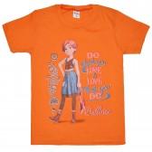 """Футболка детская """"What do you love ballerina"""" для девочки (оранжевый)"""