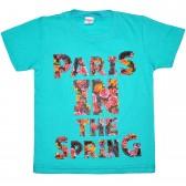 """Футболка детская """"Paris in the spring"""" для девочки (бирюзовый)"""