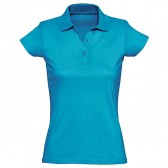 Рубашка-поло женская, однотонная (бирюзовый)