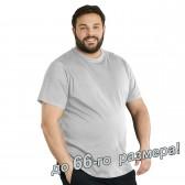 Футболка мужская, большого размера, светло-серого цвета