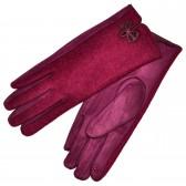 """Женские перчатки для сенсорных экранов, комбинированные """"Бантик"""" (red)"""