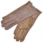 """Женские перчатки для сенсорных экранов, комбинированные """"Бантик"""" (beige)"""