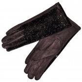 """Перчатки женские, комбинированные """"Блестки"""" (brown)"""