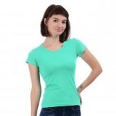 Женская однотонная футболка из хлопка, мятного цвета (эконом)