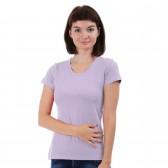 Женская однотонная футболка из хлопка, светло-сиреневая (эконом)