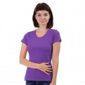 Женская однотонная футболка из хлопка, темно-сиреневая (эконом)